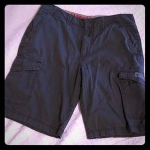 Men's charcoal gray cargo shorts